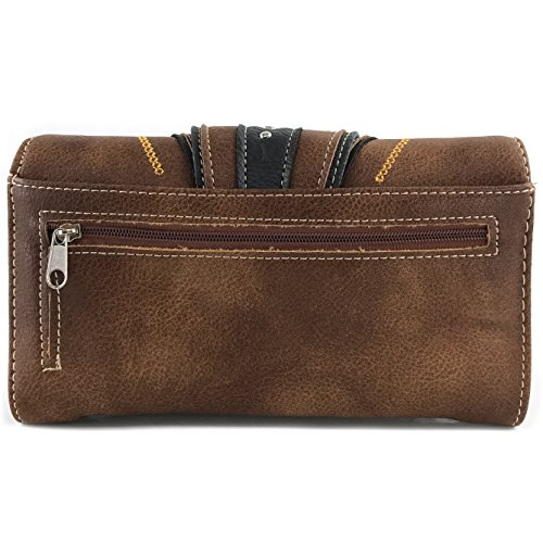 Messenger Wallet Trifold West Brown Concealed Tritone Embroidered Wallet Flower Cut Crossbody Trifold Handbag Only Tooled Leaves Carry Laser Buckle Justin Vines Flower 6dRwfxRa