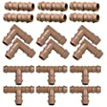"""Arfun Drip Irrigation Fittings Kit for 1/2"""" Tubing (17mm .600 ID), 18 Pieces Set - 6 Tees, 6 Couplings, 6 Elbows - Barded Connectors for Rain Bird Pipe and Sprinkler Systems"""