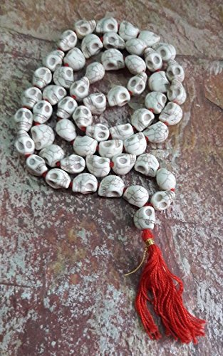 Goddess Kali Mund Mala Skeleton Bead White Color Mala ( 54+1 Beads) (Goddess Bead)