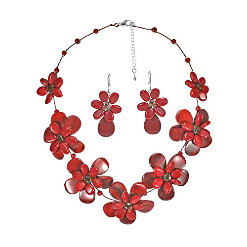 AeraVida Reconstructed Red Coral & Jasper & Fashion Crystal Floral Jewelry Set