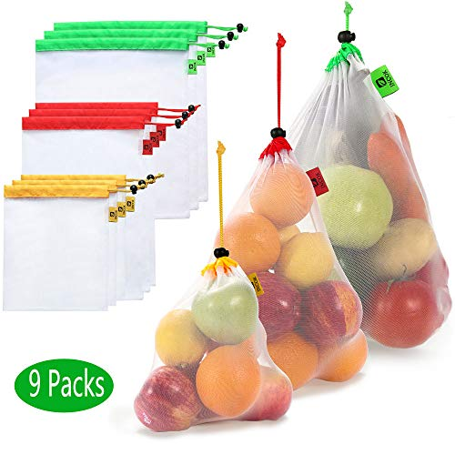 Reusable Mesh Produce Bags - Natural Durable Mesh Produce Bags with Tare Weight on Tags Eco Friendly Recyclable Packaging Bags for Grocery Shopping & Storage (9 pack Mesh Bags)