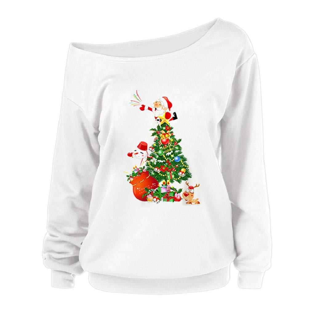 Luckycat Frauen Sweatshirt Damen Weihnachten Anker Weg von der Schulter Maxi-Slouchy Sweatshirt Pullover Tops Blusen Schlitzkragen