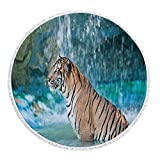 Thick Round Beach Towel Blanket,Tiger,Feline Beast in Pond Searching for Prey Sumatra Indonesia Scenes Decorative,Turquoise Light Brown Black,Multi-Purpose Beach Throw