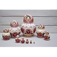 10 piezas Matryoshka muñecas rusas de anidación Babushka Roses