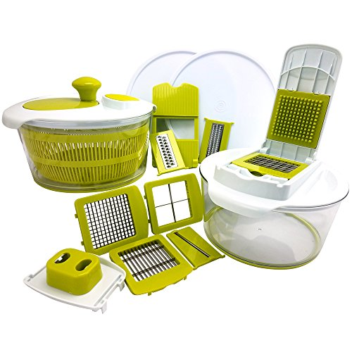 MegaChef 10-in-1 Multi-Use Salad Spinning Slicer, Dicer and Chopper Veggie Mandoline Slicer with Julienne Graterwith, Interchangeable Blades and Storage Lids by Megachef