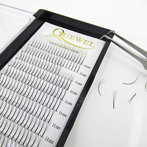 Quewel Lash Russian Volume Eyelash Extensions 3D D Curl 14mm Long Thickness 0.07/0.10 mm Premade Fans Volume Eyelashes Soft (3D-0.10-D, 14mm)