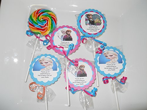 12 Disney Frozen Theme Hard Candy Whirly Pops Swirl Lollipops with Tags Anna Elsa Olaf Birthday Party Favor Pops by Hannahs Sweet Chocolate Dreams