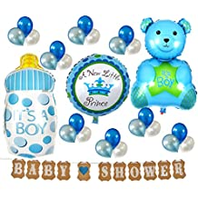 Baby Shower Decoration balloons, cute bear, baby bottle and baby sign banners - Blue