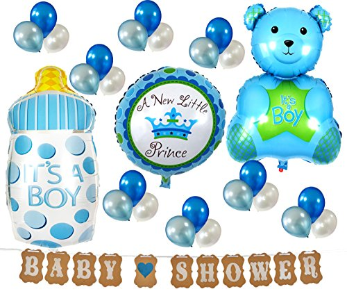 PartyPlace Blue Baby Shower Decorations Set Brand, Baby Shower Banner with Cute Bear, Baby Bottle, Boy Baby Shower Banners and Blue Pattern Metallic Balloons