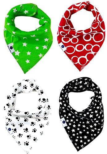 Bonzerdigs Baby Bandana Drool Bibs with Adjustable Snaps - Super Absorbent Cotton Cloth - Pack of 4