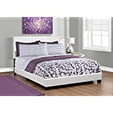 Monarch specialties I 5911Q, Bed, Leather-Look, White, Queen