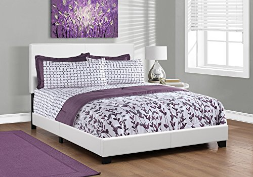 Platform Bed White Queen (Monarch specialties I 5911Q, Bed, Leather-Look, White, Queen)