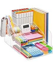 $26 » VITVITI Acrylic Desk Organizer, Clear Pencil Organizer for Desk, Multifunctional Desktop Pen Organizer Station, 8 Compartment Office Storage with Drawer, for Magazine/A4 Paper/Art Supply
