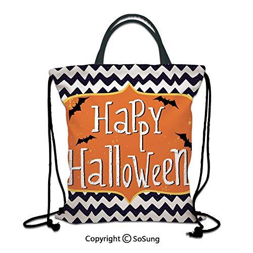 Halloween 3D Print Drawstring Bag String Backpack,Cute Halloween Greeting Card Inspired Design Celebration Doodle Chevron Decorative,for Travel Gym School Beach Shopping,Indigo White Orange