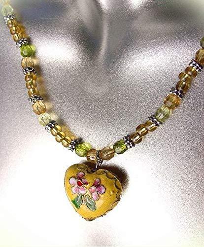 Decorative Yellow Multi Cloisonne Enamel Floral Heart Pendant Necklace For Women
