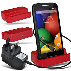 (Rojo) ZTE Nubia Z7 Max portátil de escritorio de carga del muelle del soporte y Aprobado red UK 3 Pin USB Cargador de viaje exclusivo a Elite Accesorios