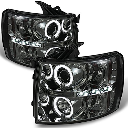 For Silverado 1500 2500 3500 Smoke CCFL Dual Halo Ring LED DRL Projector Replacement Headlights Pair