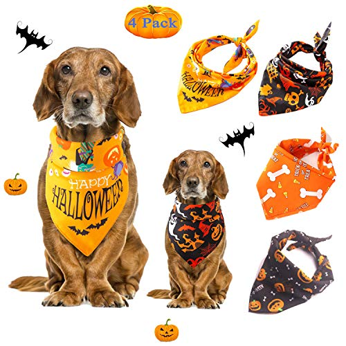 Diy Boxer Halloween Costume (Mowane Halloween Dog Bandanas, Bulk Cute Pet Scarf for Cat with Pumpkin Bats Spider Orange Black Red Green, Puppy Neckerchief for Large Midium Small Dog Pack of 4 (Halloween)