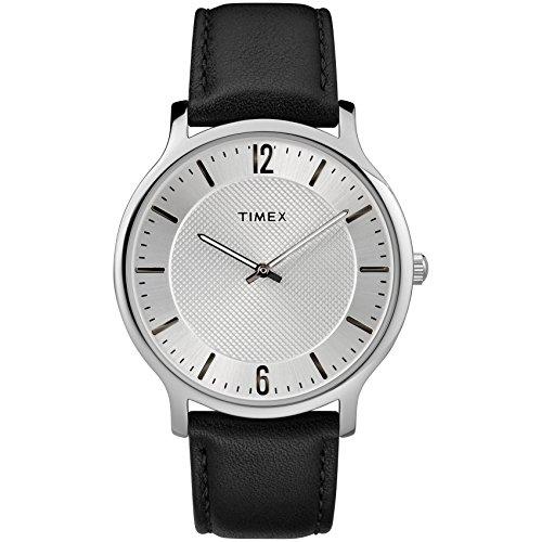 (Timex Men's TW2R50000 Metropolitan 40mm Black/Silver-Tone Leather Strap Watch)