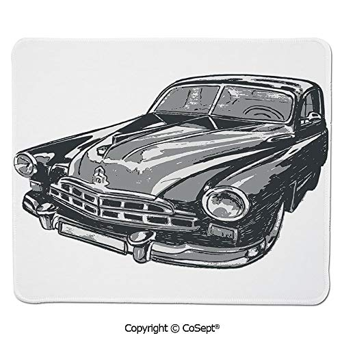 Ergonomic Mouse pad,Hand Drawn Vintage Vehicle with Detailed Front Part Hood Lamps Rear View Mirror,for Laptop,Computer & PC (7.87