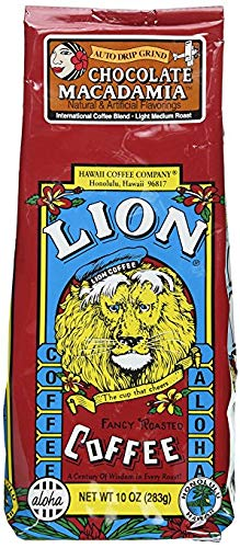 Lion Coffee Chocolate Macadamia Nut Flavored Coffee (Ground, Light Medium Roast, International Blend, 10oz Bag)