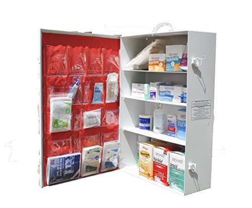 Medique-745M1-3-Shelf-Industrial-Side-Opening-First-Aid-Cabinet-Filled