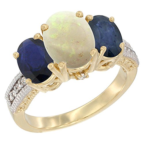 (14K Yellow Gold Diamond Natural Opal Ring 3-Stone Oval 8x6mm with Blue Sapphire, size 10)