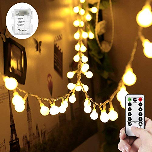 WERTIOO 33ft 100 LEDs Battery Operated String Lights Globe Fairy Lights with Remote Control for Outdoor/Indoor Bedroom,Garden,Christmas Tree[8 Modes,Timer ] (Warm White)]()