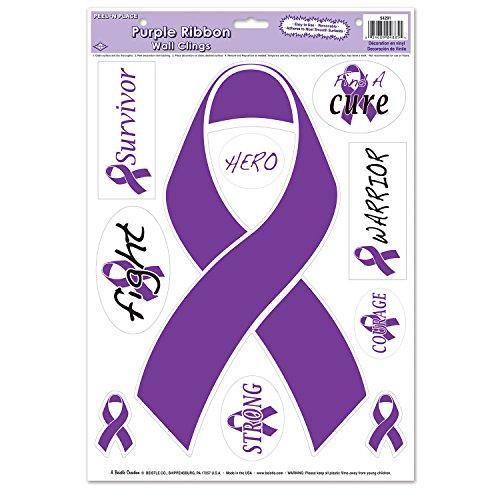 Beistle 54291 Purple Ribbon Peel N Place, Pack Of 12