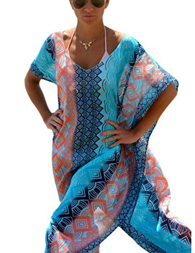 Chiffon Poncho Cover - Bsubseach Women's Blue Side Split Chiffon Robe Beach Dress Swimsuit Bikini Cover Up Swimwear Kaftan Poncho