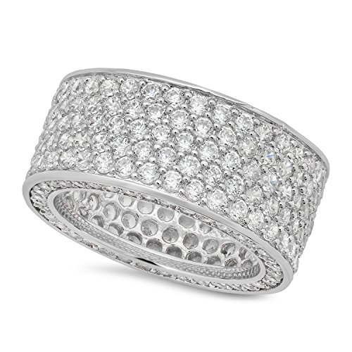 The Bling Factory Men's Rhodium Plated Micro-Pave Iced Out Cubic Zirconia Band Ring, Size 11 + Jewelry Polishing Cloth