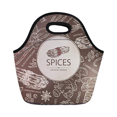 Semtomn Lunch Bags Spice Ginger Cinnamon Cumin Seeds Cloves Vanilla Star Anise Neoprene Lunch Bag Lunchbox Tote Bag Portable Picnic Bag Cooler -