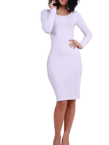 Wuxh Women Sexy O-Neck Long Sleeve Bodycon Party Bandage Casual Dress
