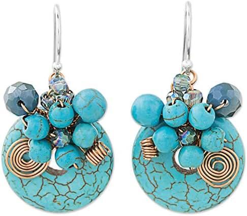 NOVICA Blue Calcite .925 Sterling Silver Glass Beaded Earrings 'Moonlight Garden in Blue''