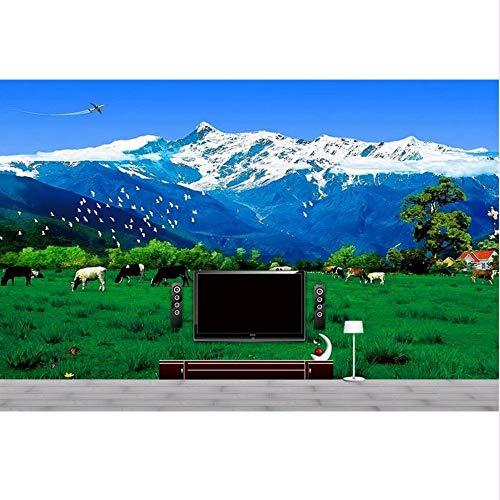 LSFHB Custom 3D Photo Mural Wallpaper Prairie Snow Mountain Landscape Painting Hd Photo Livingroom Tv Backdrop Bedroom Photo Wallpaper-400X280Cm -
