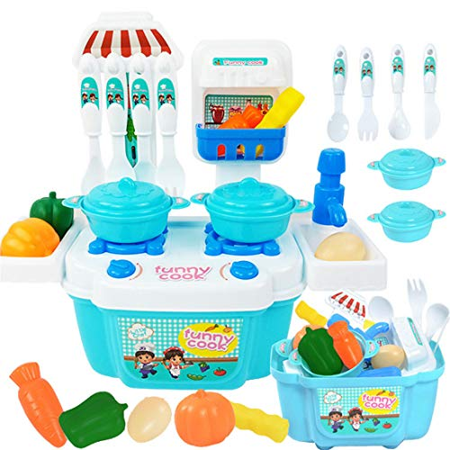 1 Set Children Baby Boy Girl Cartoon Toy Role Play Mini Simulation Kitchenware Tableware Cooking a House Toy(22pc) (Blue, 22pc) ()