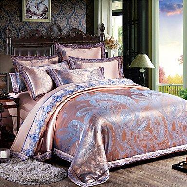 MEI Luxury Jacquard Silk Cotton Blend 4pcs Duvet Cover Bed Sheet Pillowcase Bed Linen by MEI