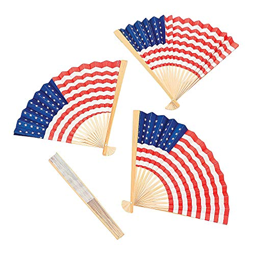 (Fun Express - Paper American Flag Fans (10