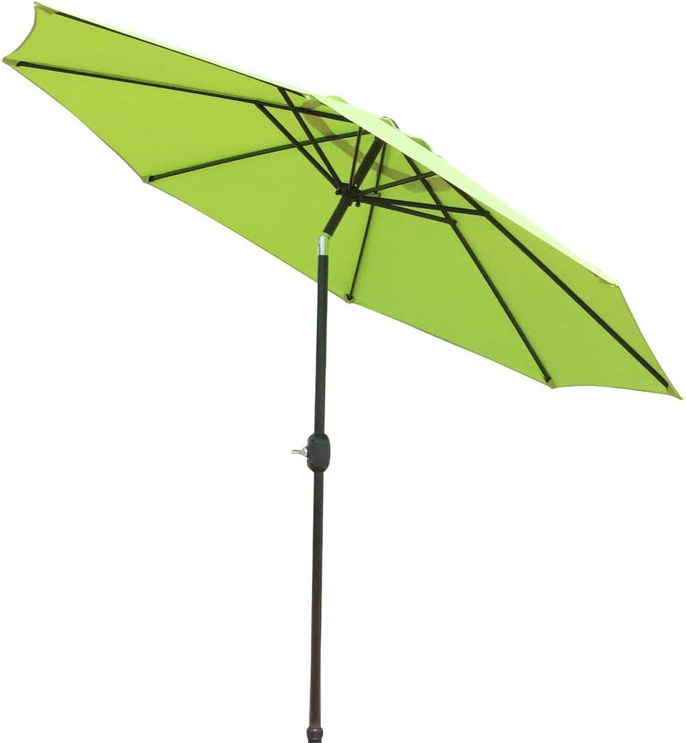 GOLDSUN Patio 9 Ft Market Outdoor Aluminum Patio Umbrella with Push Button Tilt and Crank,Lime Green