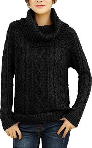 (v28 Women's Korean Design Turtle Cowl Neck Ribbed Cable Knit Long Sweater Jumper (Black,XS))