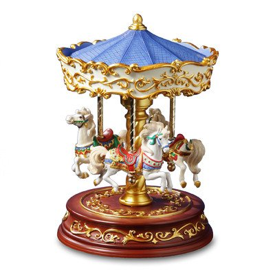 THE SAN FRANCISCO MUSIC BOX COMPANY Heritage 3-Horse Rotating Carousel - Musical Carousel