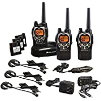 Midland GXT1000X3VP4 36-Mile 50-Channel GMRS Rechargeable Two-Way Radio Walkie Talkies (3 Pack), Black