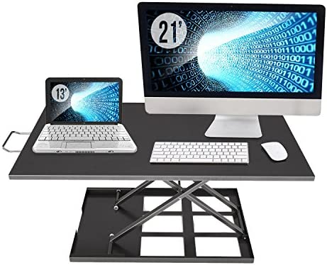 Standing Desk Converter Adjustable Height – Sit to Stand Up Desktop Table Riser – Rising Portable Black Tabletop Workstation for Computer Laptop Notebook – Best Office Exercise Work Station