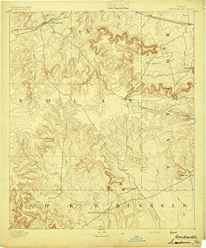 YellowMaps Sweetwater TX topo map, 1:125000 Scale, 30 X 30 Minute, Historical, 1893, 20 x 16.6 in - Polypropylene