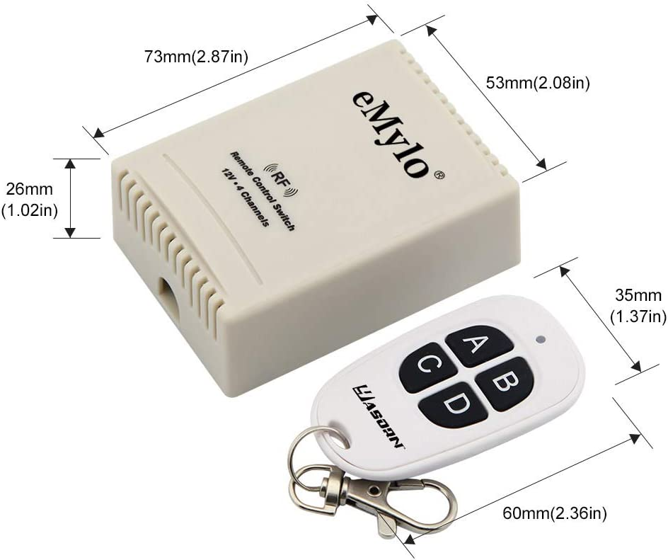 MagiDeal 2 Kanal Wireless Remote Control Switch Relais mit Empfänger 24V