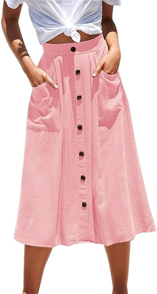 FENGLINZEKANG El Faldas Casuales de Las Mujeres, Botones de ...