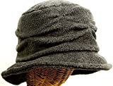 Women's Fleece Pleated Wave Design Cloche -Charcoal