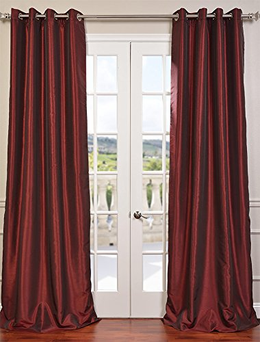Half Price Drapes PDCH-KBS5-84-GRBO Grommet Blackout Vintage Textured Faux Dupioni Silk Curtain, Ruby (Curtains Dupioni)