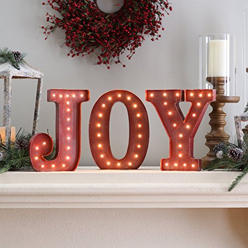 UPC 687293231078, 12 in. Rustic Red Metal Letter Joy Sign with Battery Operated LED Lights