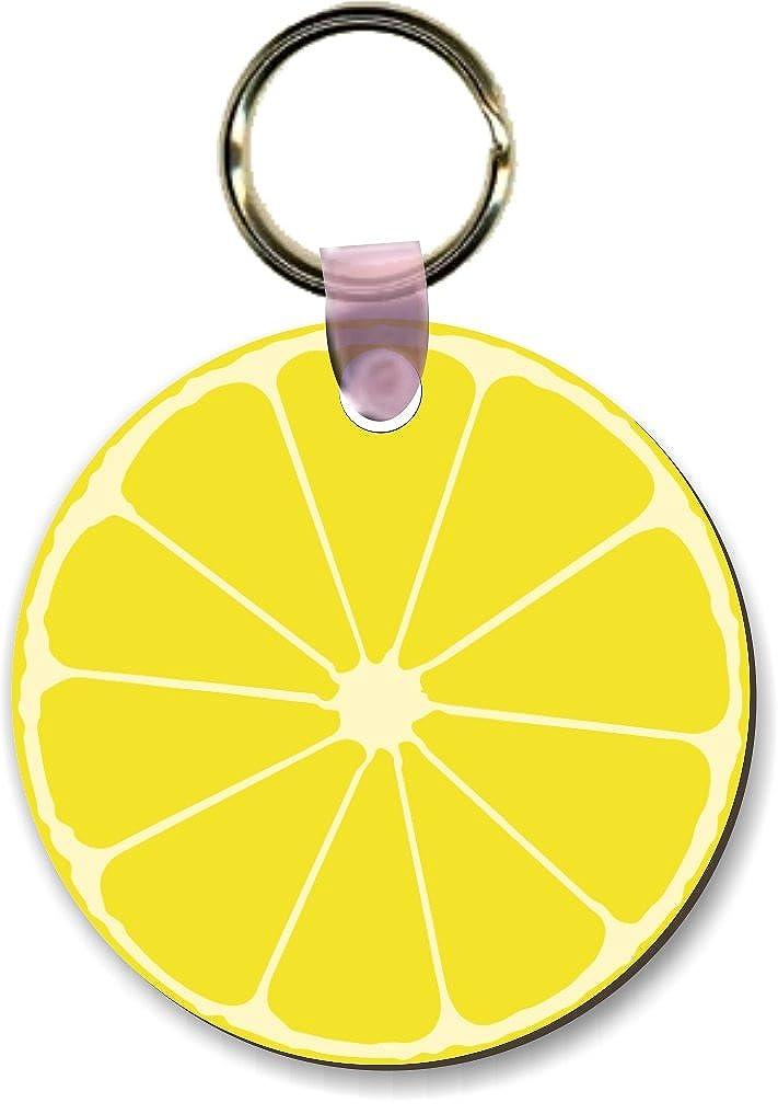 Artsyレモン半分スライスデザインラウンドシェイプキーチェーン – 荷物識別タグ( x2 ) B01CRIQNL2